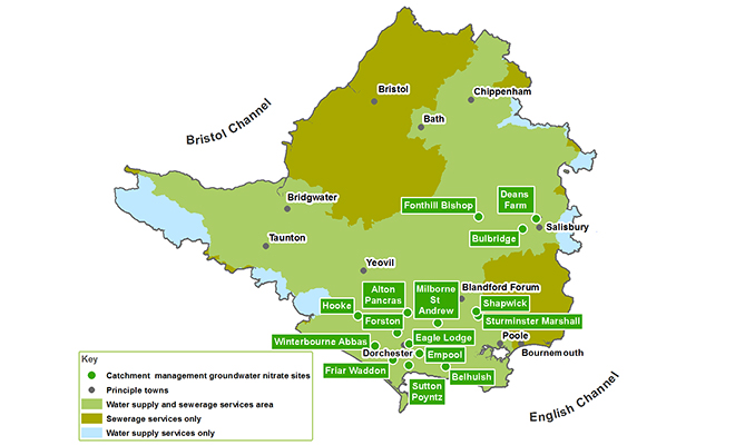 Map showing groundwater catchment sites