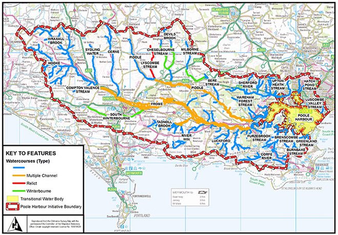 Map showing watercourses in  the Poole Harbour Catchment