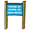 Beach sign - Delivering zero pollution, zero carbon operation