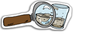 Magnifying glass and glass of dirty water