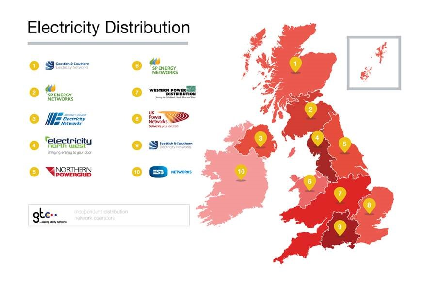 Map showing distribution of electricity companies in the UK
